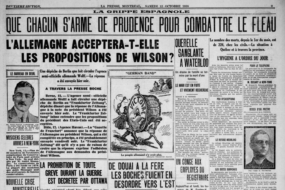 Article publié le 12octobre1918 dans La Presse faisant état de la progression de l'épidémie au Québec. Le texte débute ainsi: «Avec les mesures prises pour la lutte à l'influenza, Montréal a l'air d'une ville en état de siège. Toutes les devantures étaient noires, hier soir, de très bonne heure à cause de l'ordre de fermeture lancé par la Commission d'hygiène. N'était la foule qui se trouvait dans les rues, on pourrait croire l'ennemi à nos portes. Comme question de fait, l'ennemi est dans la place et continue ses ravages.»