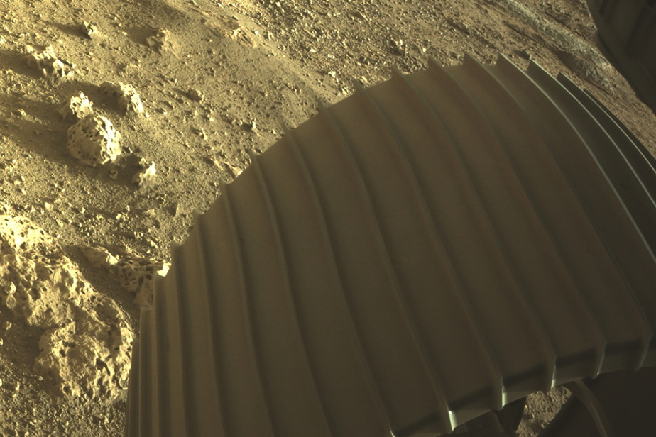 L'une des six roues de l'astromobile Perseverance, captée en haute définition et en couleur par les «Hazard Cameras».