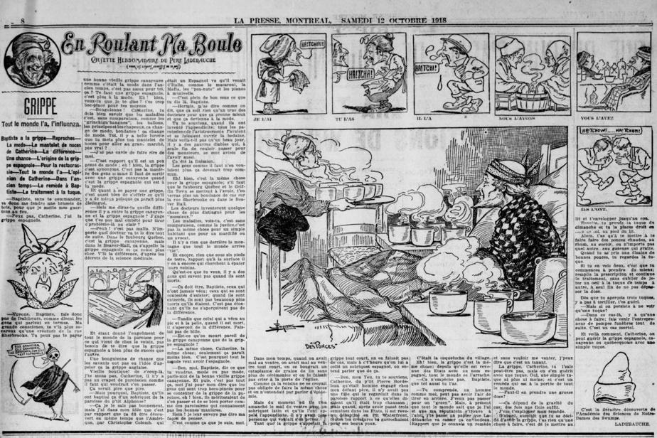 «En roulant ma boule»: texte et dessins caricaturaux du Père Ladebauche sur l'épidémie de grippe espagnole publiés le 12octobre1918 dans La Presse