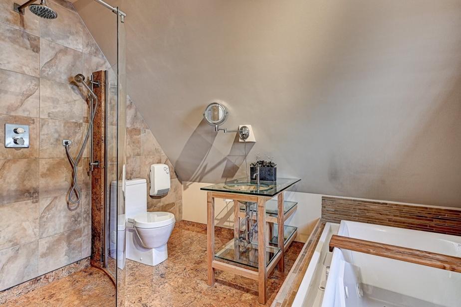 La salle de bains principale avec douche en verre