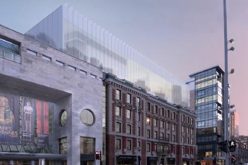 L'aile Riopelle projetée après l'étude du cabinet d'architecture Patkau, en collaboration avec la firme Provencher_Roy.