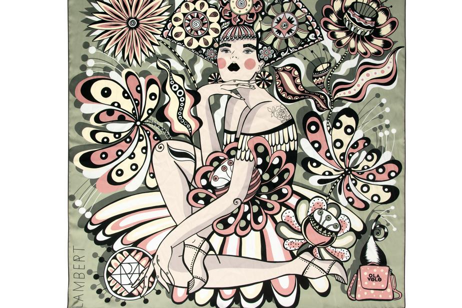 L'artiste Ola Volo, qui met souvent les femmes au cœur de ses œuvres, a collaboré avec Lambert pour la création de ce foulard.