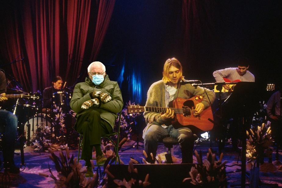 Bernie Sanders en version Unplugged, entouré des membres deNirvana