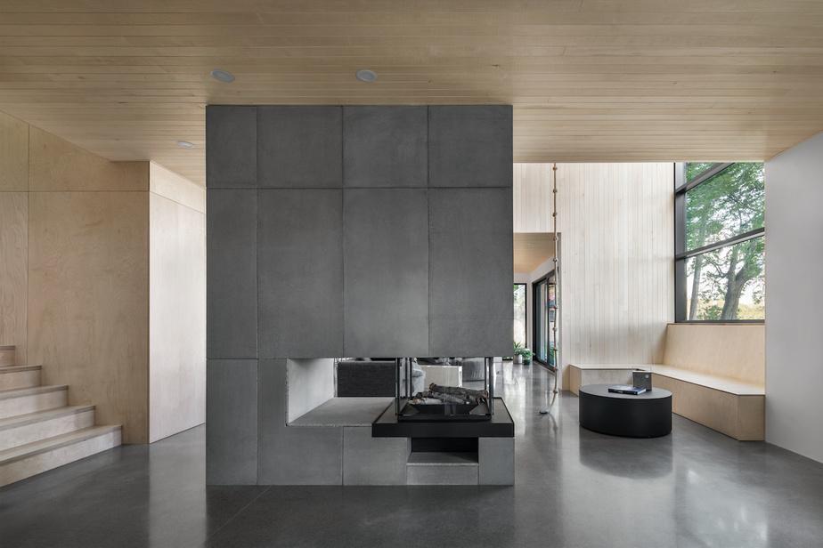 Ces deux salons sont séparés par une cheminée centrale en béton, qui coupe visuellement l'espace.
