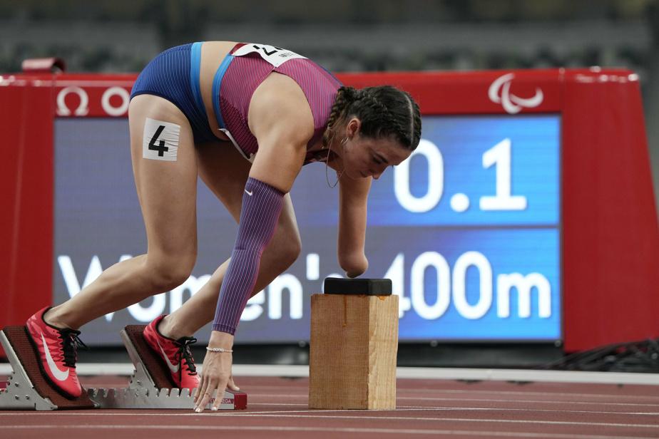 L'Américaine DanielleAravich au départ du 400m