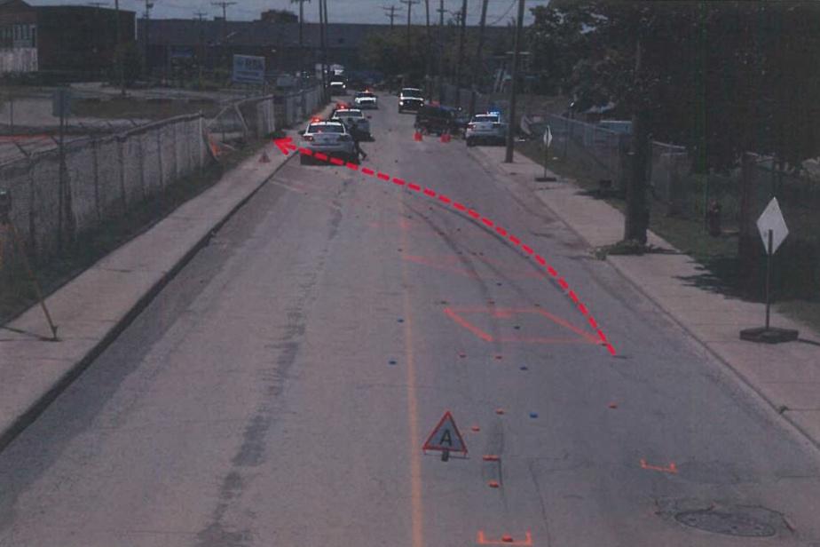 Déplacement du véhicule de NoamCohen après le dernier impact avec la voiture des policiers