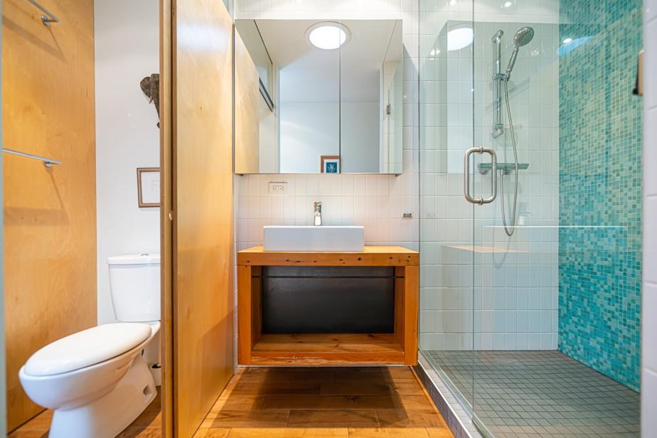 La salle de bain des «adultes» est située près de la chambre principale et sa grande penderie.