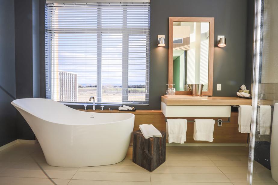 Cette baignoire coquille à la forme fort accueillante se trouve dans une des chambres lofts du pavillon Le Moulin de l'hôtel Germain Charlevoix. Ces chambres sont les plus spacieuses –et luxueuses– de l'établissement. Elles ont vue sur le champ derrière l'hôtel et le fleuve au loin.