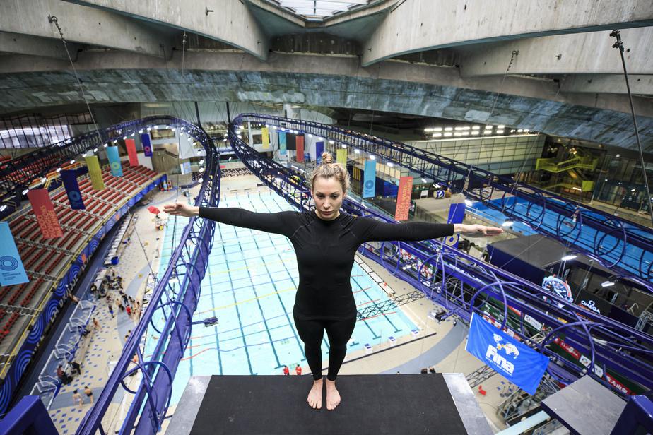 En février, Lysanne Richard a inauguré une plateforme intérieure de 20mètres à la piscine olympique de Montréal. C'était juste avant que la COVID-19 force l'arrêt des compétitions.