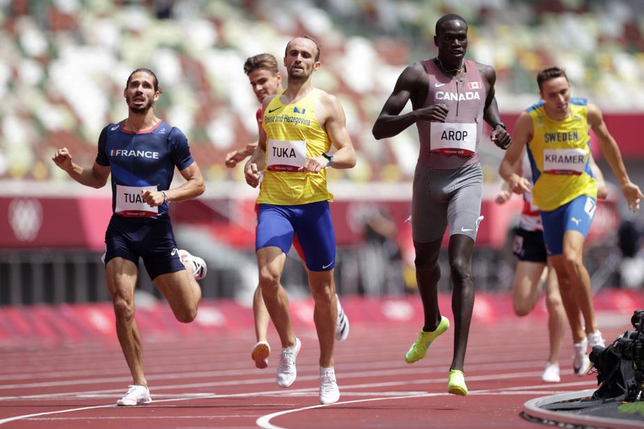 Marco Arop 7h25: le Canadien Marco Arop a impressionné en gagnant sa vague lors du premier tour au 800m. Il tentera de poursuivre son beau parcours en demi-finales.