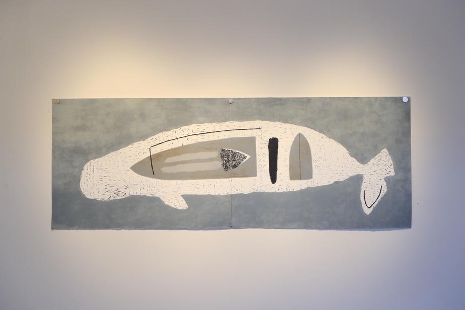 TerritoireII, 2020, acrylique sur papier Stonehenge, diptyque, 78,7cm x 215,9cm.