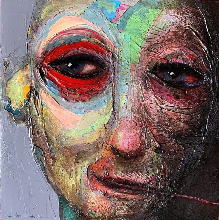 Sylvain Coulombe, artiste-peintre. «Ce regard représente, pour moi, tout l'apprentissage de vivre selon les hauts et les bas d'une insécurité qui nous habite, nous, qui faisons face aux instabilités émotives de ceux que l'on aime et de nous-même. Et sur ma route, l'art m'a permis d'ysurvivre.»