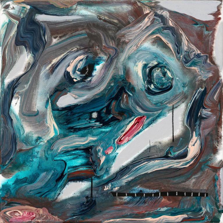 Portrait, 2019, Manuel Mathieu, techniques mixtes, 40cm x 40cm