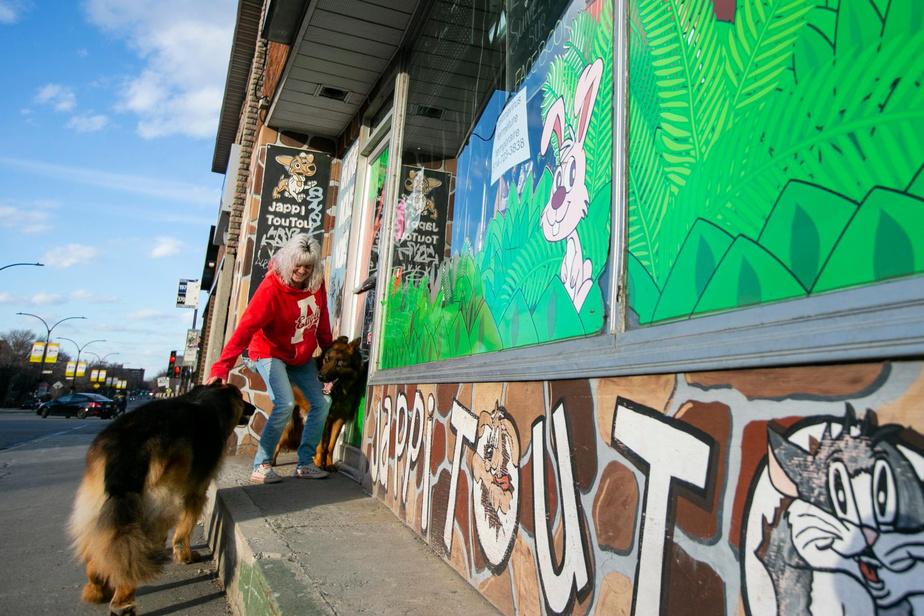 18h32: Linda Nadeau, gérante de l'animalerie Jappi Toutou sur le boulevard Rosemont, quitte sa boutique accompagnée de ses fidèles bergers allemands Caporal et Rocky. Chaque jour, elle revient prendre soin des animaux qui s'y trouvent, même si la boutique est fermée au public.