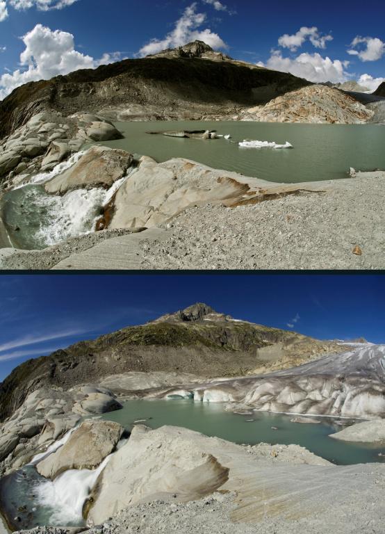 Un autre point de vue: le glacier du Rhône et son petit lac en septembre2018 (haut) et en septembre2009.