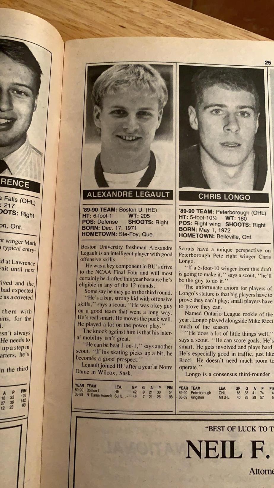 Le portrait de joueur d'Alexandre Legault publié dans l'édition spéciale du repêchage de 1990 du magazine The Hockey News