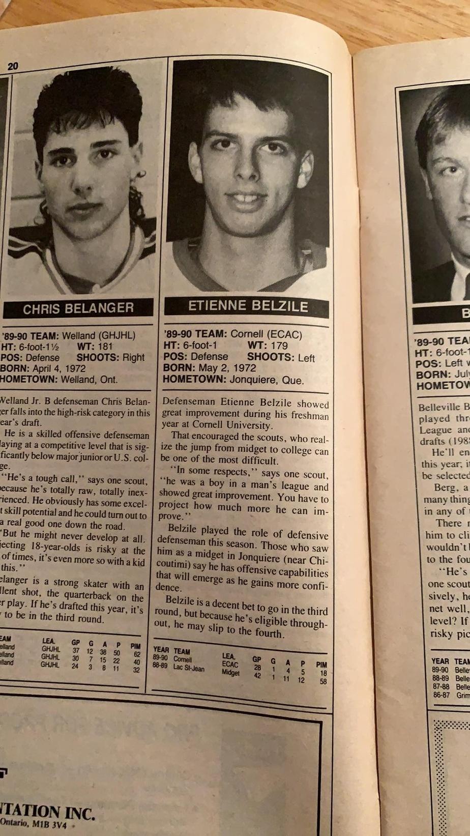 Le portrait de joueur d'Étienne Belzile publié dans l'édition spéciale du repêchage de 1990 du magazine The Hockey News