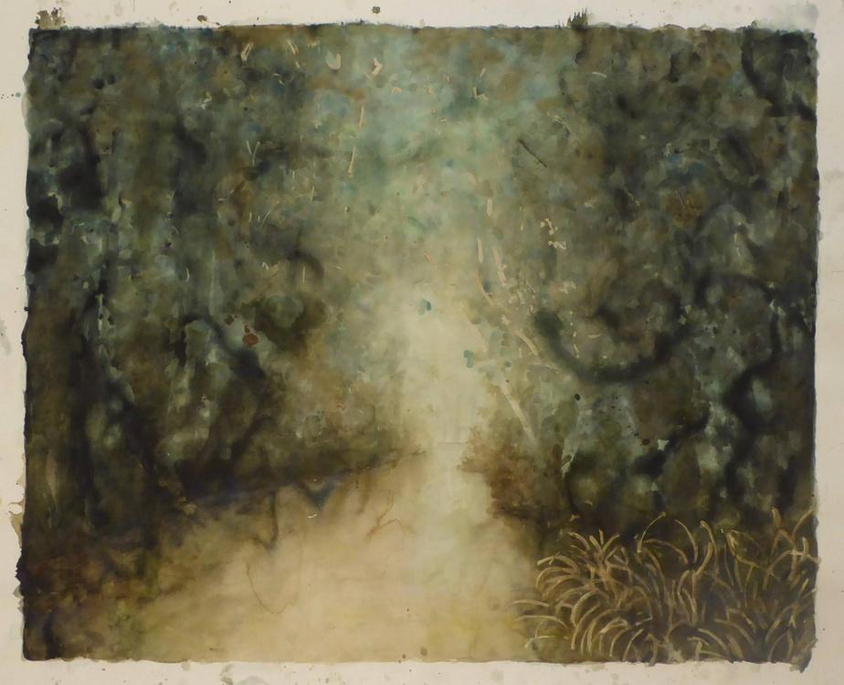Dam, 2019, RipleyWhiteside, aquarelle et encre de noix, 108cmx132,1cm