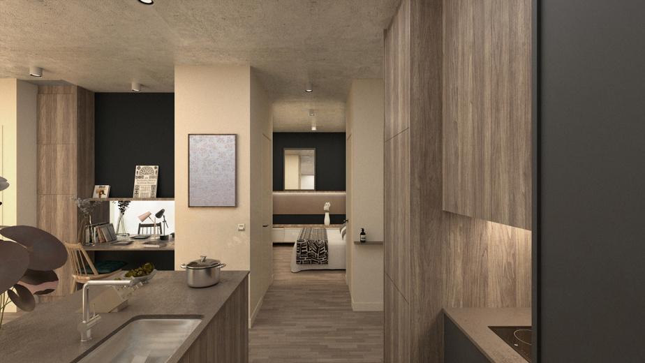 L'agence Blanchette Architectes a effectué une réflexion sur l'intégration d'espaces de travail dans les logements. Dans ce premier exemple, un bureau d'appoint est ouvert sur la cuisine. La pièce à l'arrière sert de chambre.