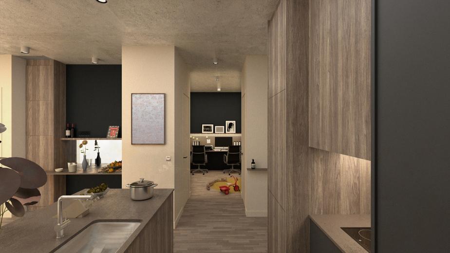 Dans ce deuxième exemple fourni par Blanchette Architectes, un petit espace supplémentaire complète la cuisine. La pièce au fond comporte un grand bureau pour le télétravail. Un enfant peut jouer à côté.