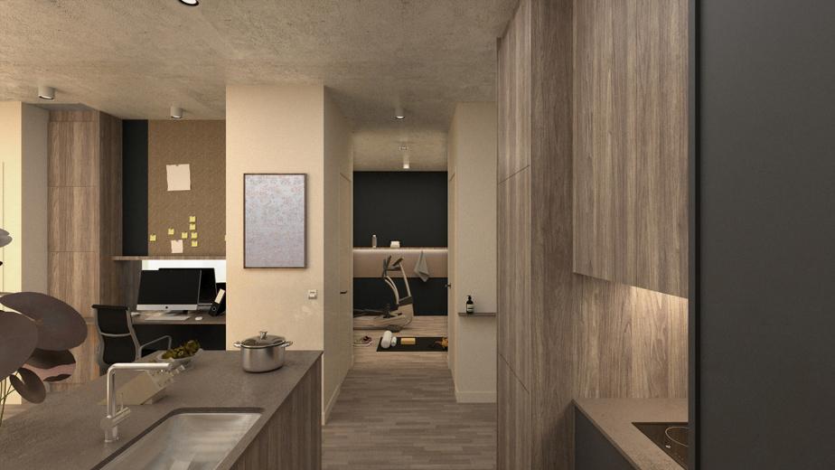 Dans ce troisième exemple fourni par Blanchette Architectes, un espace un peu plus grand est consacré à un bureau, en retrait de la cuisine. La pièce au fond peut notamment servir pour faire de l'exercice.