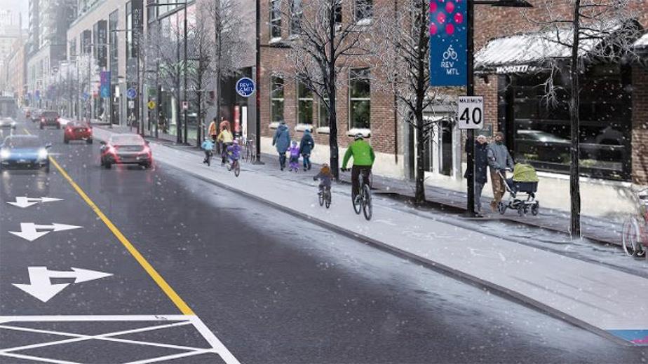 Intersection des rues Peel et Wellington en hiver