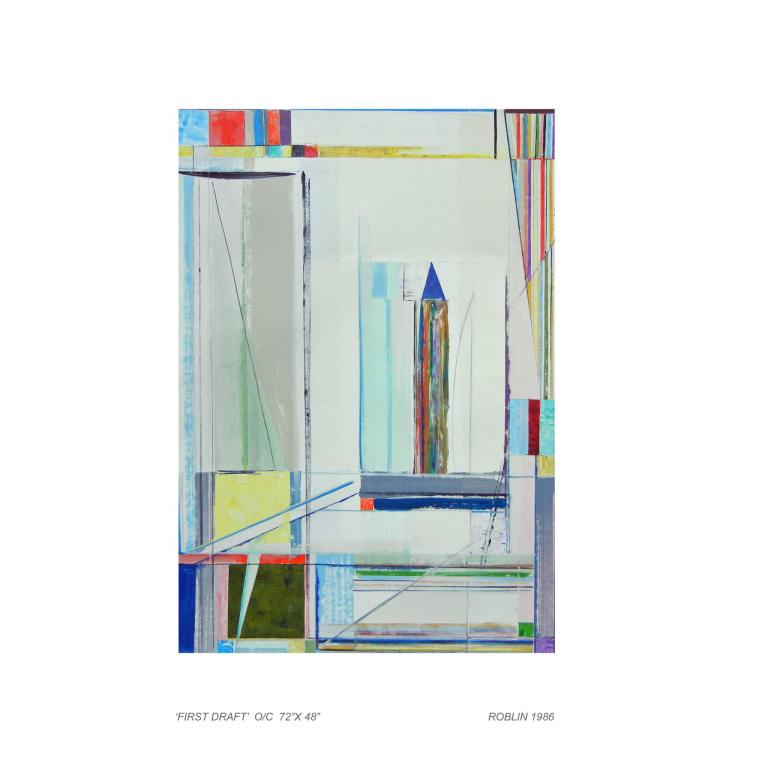First Draft, 1986, Richard Roblin, huile sur toile, 72po x 48po