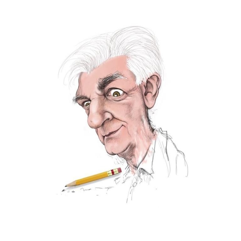 Serge Chapleau, caricaturiste, La Presse. «Vous remarquerez que mon autoportrait n'est pas fini… c'est pour une raison fort simple. Je vis encore dans le doute et je ne sais pas encore comment le terminer et en plus, la mine de mon crayon est brisée. Aïe! Aïe! Aïe! Quefaire?»