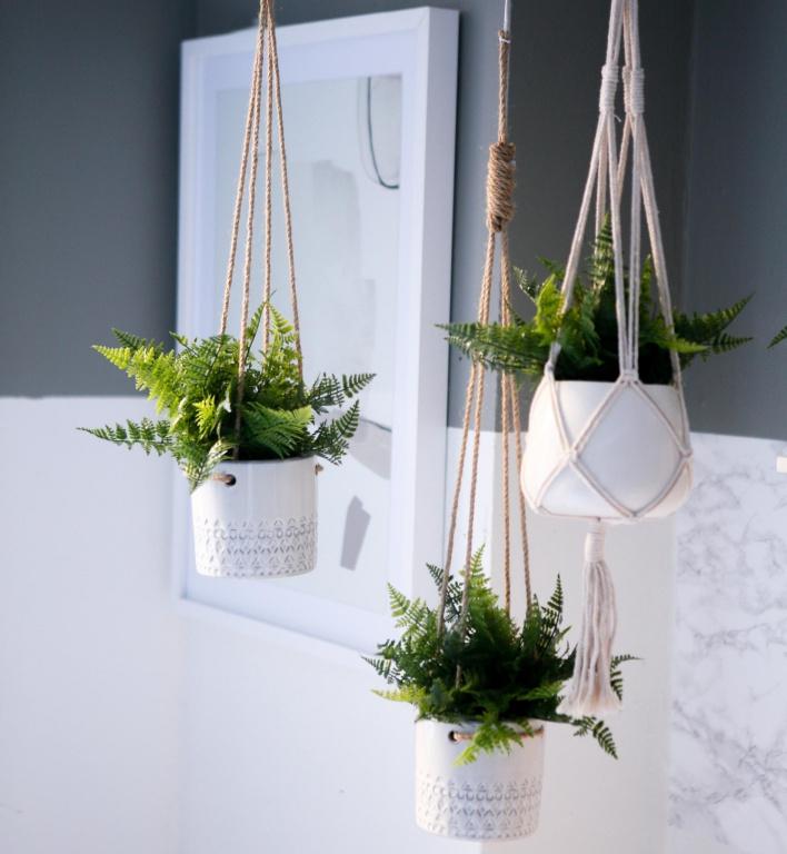 Dans une salle de bains plutôt froide et aseptisée avec son carrelage, des plantes suspendues procurent couleur et chaleur, indique Anne Brun, directrice de création web chez Zone. Elles ont un côté frais et vivant, porteur d'énergie.