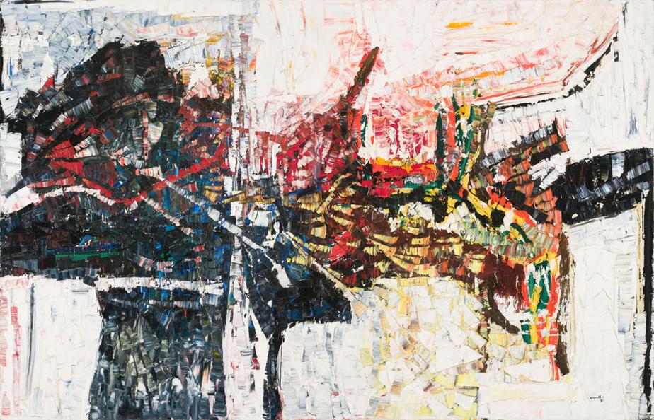 Le réveil, 1970, Jean Paul Riopelle, huile sur toile, 185cm sur 284cm. Estimée entre 1million et 1,5million.