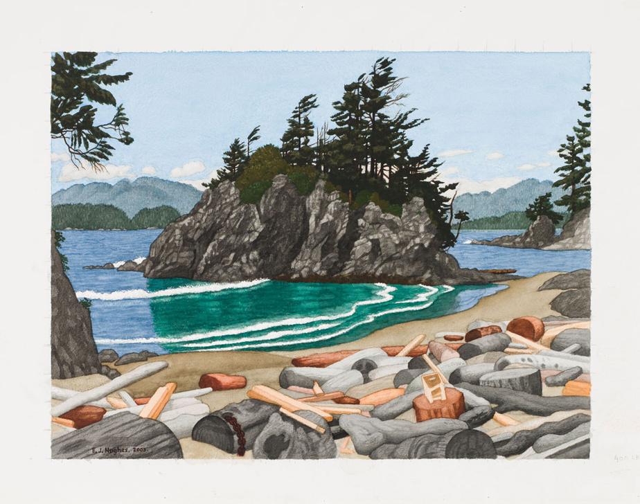 The Pacific Coast (Near Bamfield), 2003, Edward John (E. J.) Hughes (1913-2007), aquarelle sur papier, 45,7cm sur 61cm. Estimation: entre 40000 et 60000$.