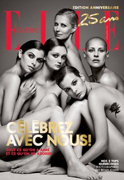 Page couverture pour souligner les 25ans du ELLE Québec, sous la direction artistique de Denis Desro