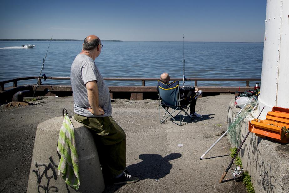 Des amis regardent passer un bateau sur le lac en attendant une touche.