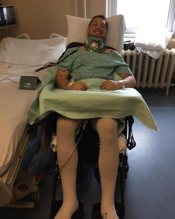 Le 24juin2019, Dominic Frappier à l'hôpital trois jours après l'accident