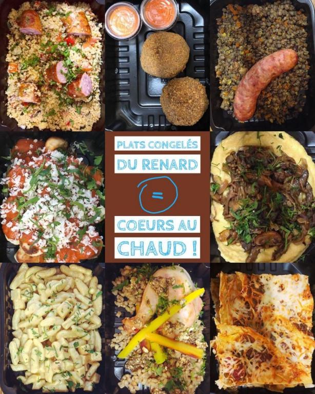 Pour chaque petit plat pour emporter «TV Dinner» acheté en ligne, Le renard et la chouette, à Québec, en remet un à La Bouchée Généreuse, un organisme qui aide à nourrir les plus démunis de la région.