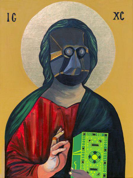 Moridja Kitenge Banza, Christ Pantocrator n°10, 2020. Acrylique et feuille d'or sur contreplaqué.