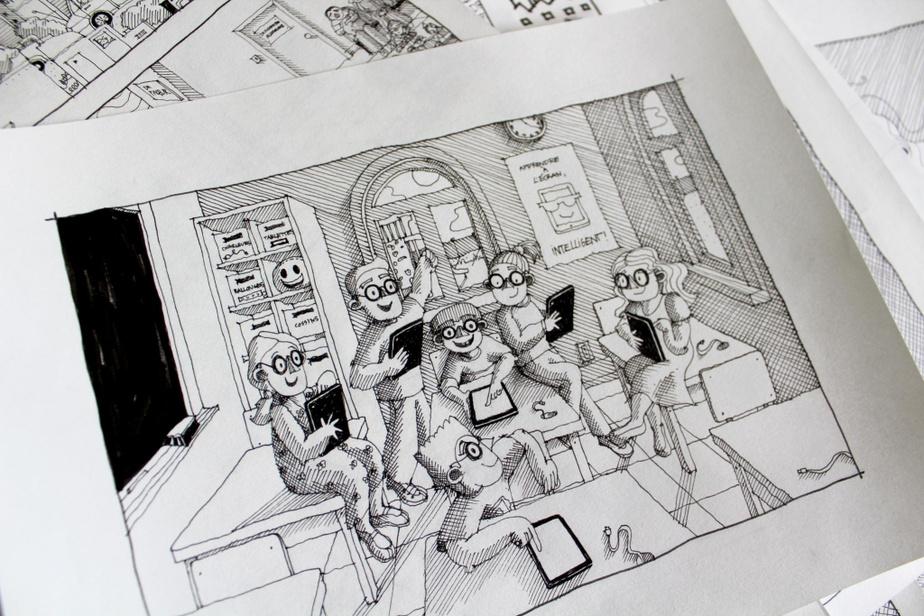«Je fais tout à la main, dit Camille Pomerlo. Les illustrations sont beaucoup plus grandes que le livre, au moins le double de la grandeur des pages.»