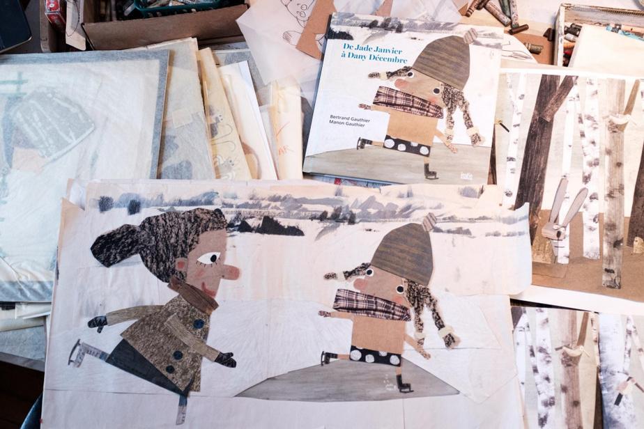 Planche originale de De Jade Janvier à Dany Décembre, livre illustré par Manon Gauthier aux éditions de l'Isatis.