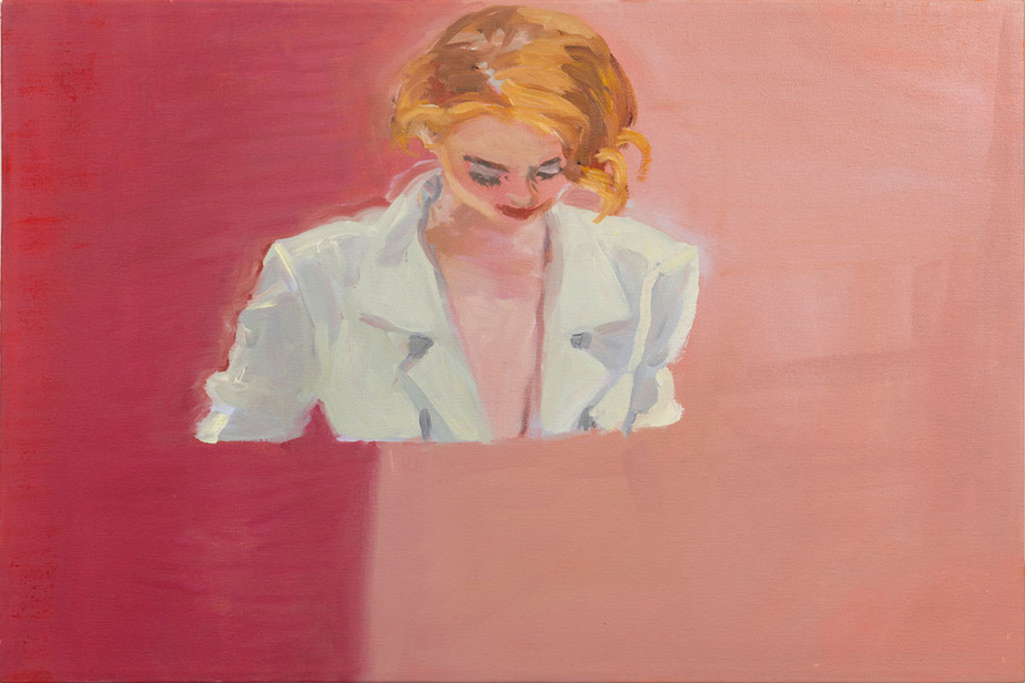 Looking down (pink split), 2020,Janet Werner, huile sur toile, 40,6 cm x 50,8 cm