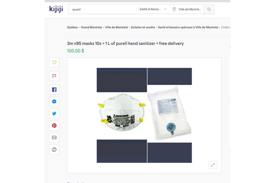 Il faudra débourser 100$ pour obtenir cet ensemble. Les boîtes de10masques sanitaires se vendent, en temps normal, entre 5$ et 15$.