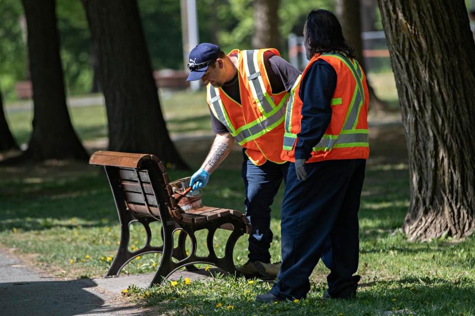 Des employés de la Ville peinturent les bancs du parc La Fontaine.