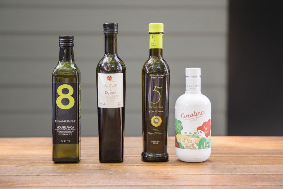 Les quatre huiles d'olive dégustées sont toutes des huiles «monovariétales», qui ne contiennent qu'une seule variété d'olive, contrairement aux assemblages. Dans l'ordre: l'huile d'olive #8 d'Olive&Olives contient la hojiblanca; l'Abbae de Queiles, de l'arbequina; la 5 elementos, du picual; la Coratina est à base d'olives coratina.
