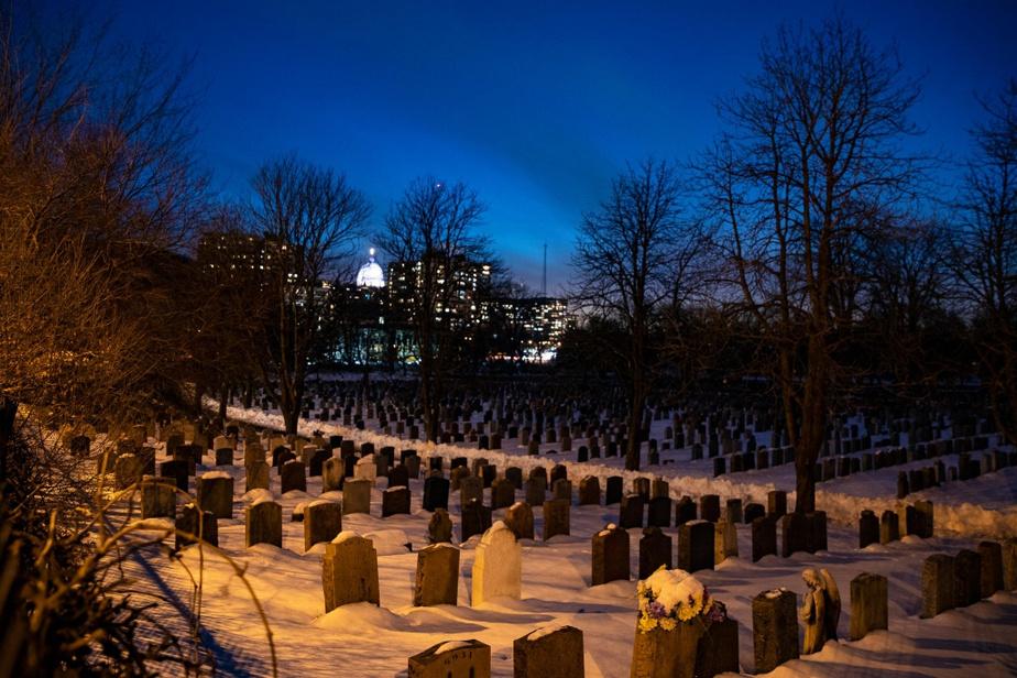 Le cimetière Notre-Dame-des-Neiges. On aperçoit au loin le dôme de l'oratoire Saint-Joseph.