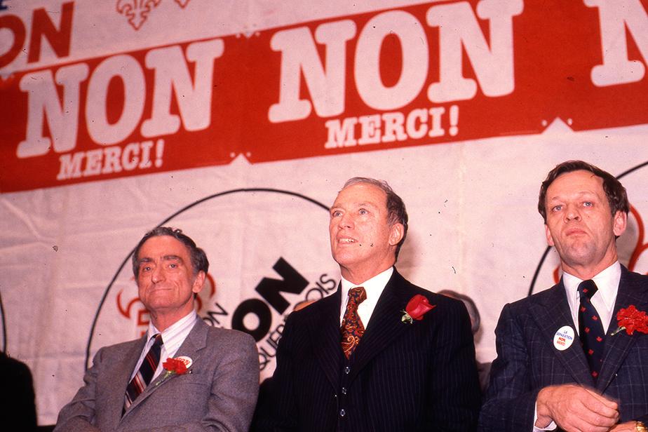 Les trois ténors du camp du Non : Claude Ryan, chef du Parti libéral du Québec, Pierre Elliott Trudeau, premier ministre du Canada, et Jean Chrétien, ministre de la Justice