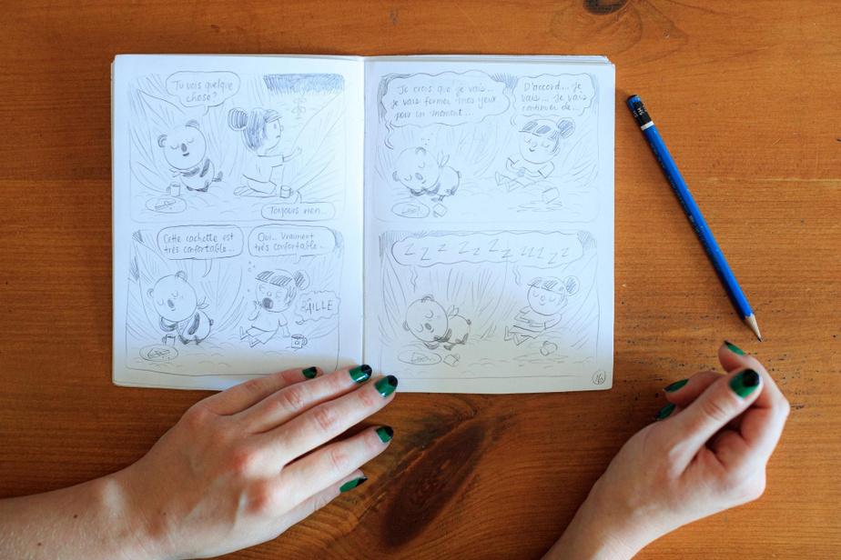 Voici l'ébauche du premier Mimose et Sam, publié par Cathon en 2016. Au début de sa carrière, elle a participé aux ateliers de bande dessinée donnés par Jimmy Beaulieu au Cégep du VieuxMontréal.