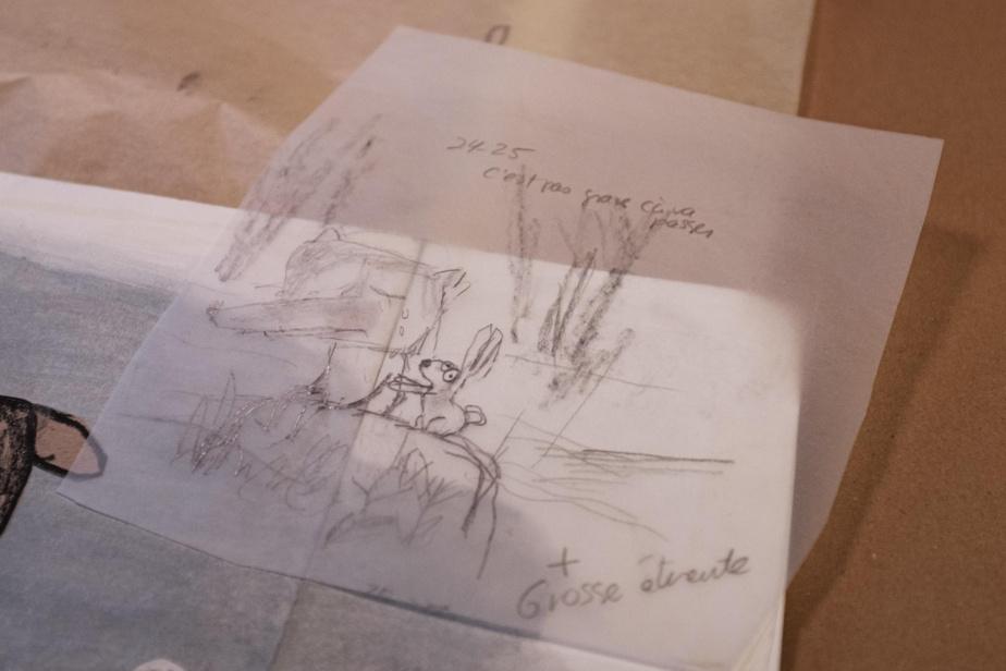 Manon Gauthier commence par dessiner quelques croquis très basiques, sur papier calque. «D'album en album, je cherche toujours comment faire», dit l'artiste.