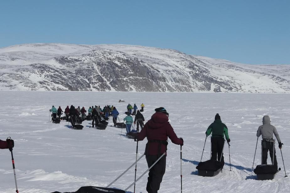 Lorsque les conditions sont bonnes, la progression se fait bien lors d'une expédition de ski de fond au Nunavik.