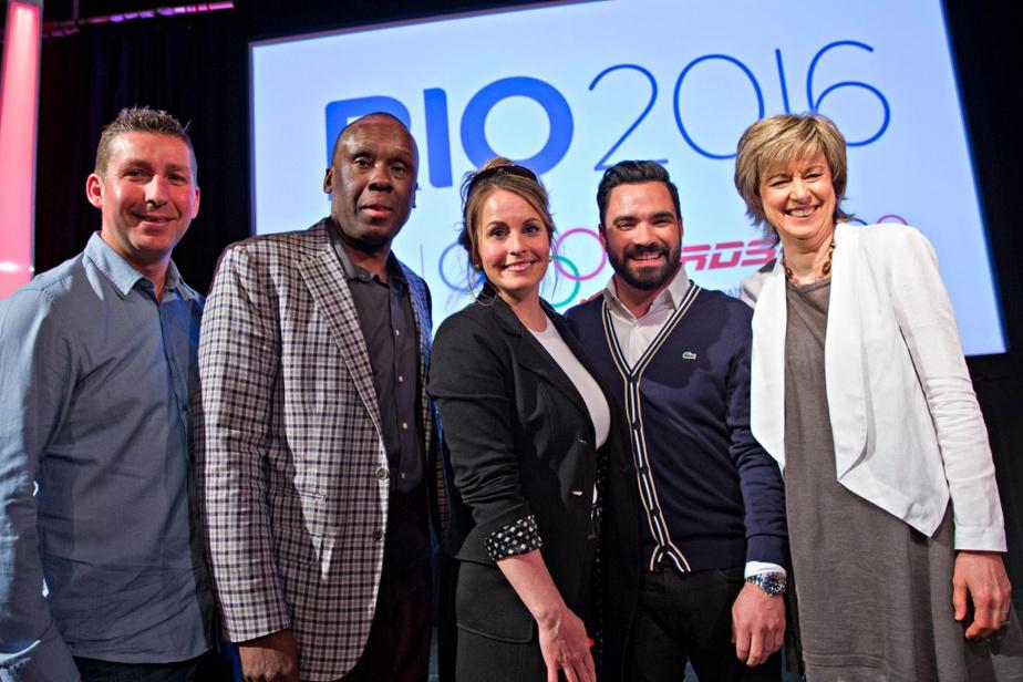 AnniePelletier, au centre, était de l'équipe d'analystes et journalistes présents aux Jeux de Rio, en 2016, tout comme ÉricLucas, Bruny Surin, AlexandreDespatie et Marie-José Turcotte.