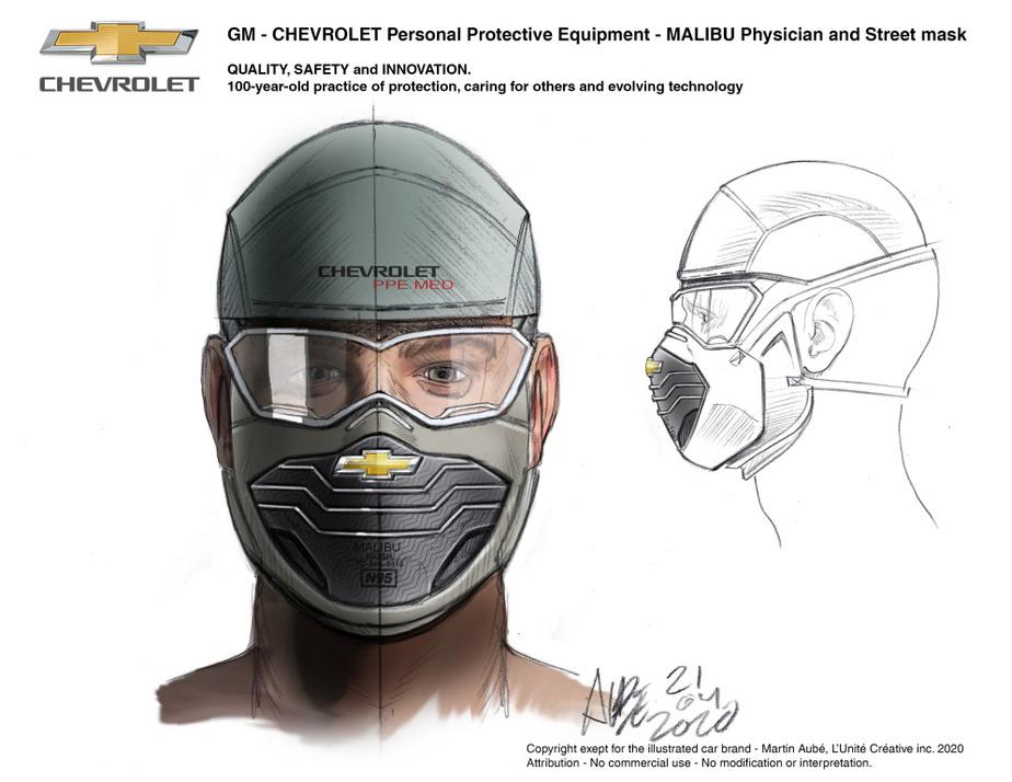 La version Chevrolet du masqueN95 paraît dure à l'ouvrage.