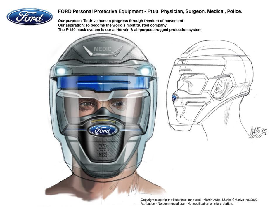 L'interprétation VUS (pour visière d'urgence sécuritaire) du masque Ford.